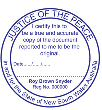 Load image into Gallery viewer, New South Wales Justice Of The Peace Stamp Large Round True Copy