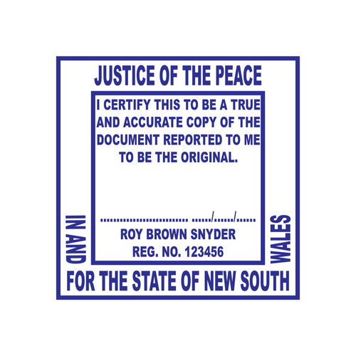 New South Wales Justice of The Peace Stamp 40 X 40mm Square