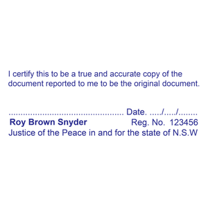 New South Wales Justice Of The Peace True Copy Stamp