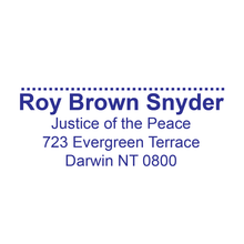 Load image into Gallery viewer, Northern Territory Justice Of The Peace With Name, Registration Address and Signature