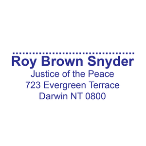 Northern Territory Justice Of The Peace With Name, Registration Address and Signature