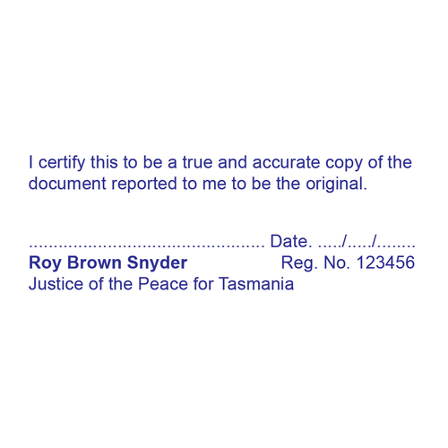 Tasmania Justice Of The Peace Stamp True Copy
