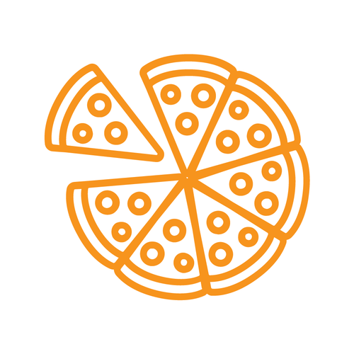 Pizza 7 Slices Loyalty Card Stamp 12 x 12mm, No.25