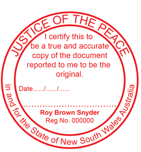 New South Wales Justice Of The Peace Stamp Large Round True Copy