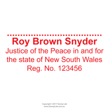 Load image into Gallery viewer, New South Wales Justice of the Peace Stamp with Name, Registration number, state and signature line