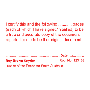 South Australia Justice Of The Peace Stamp True Copy Multi Page