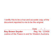 Load image into Gallery viewer, Western Australia Justice Of The Peace Stamp True Copy