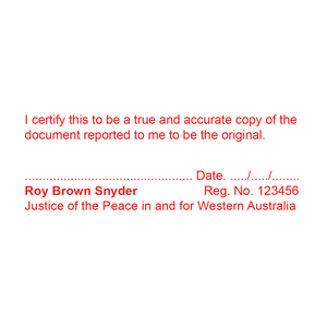Western Australia Justice Of The Peace Stamp True Copy