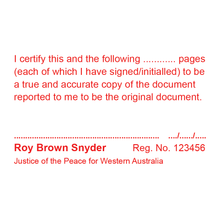 Load image into Gallery viewer, Western Australia Justice Of The Peace Stamp True Copy Multi Page