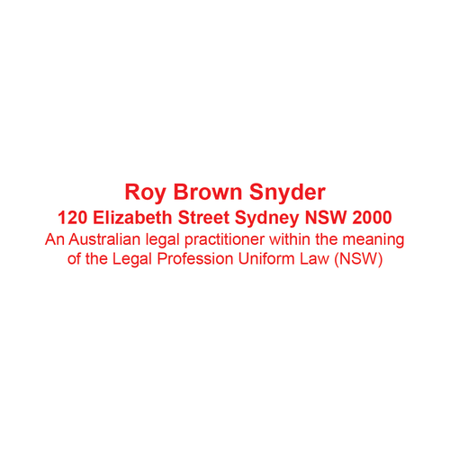 Australian Legal Practitioner Stamp New South Wales