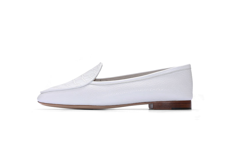 Group Made-To-Order (GMTO) Claudia in Bianco and Embossed White Crocodile
