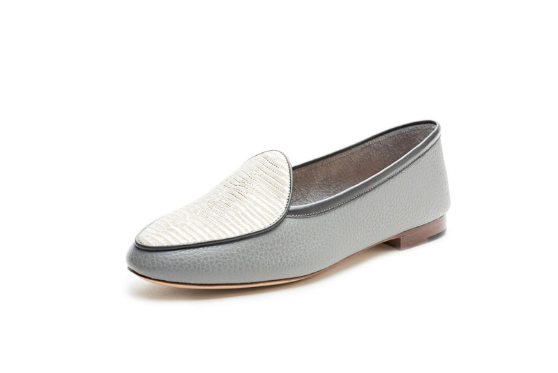 Claudia in Grey and Embossed Silver Lizard