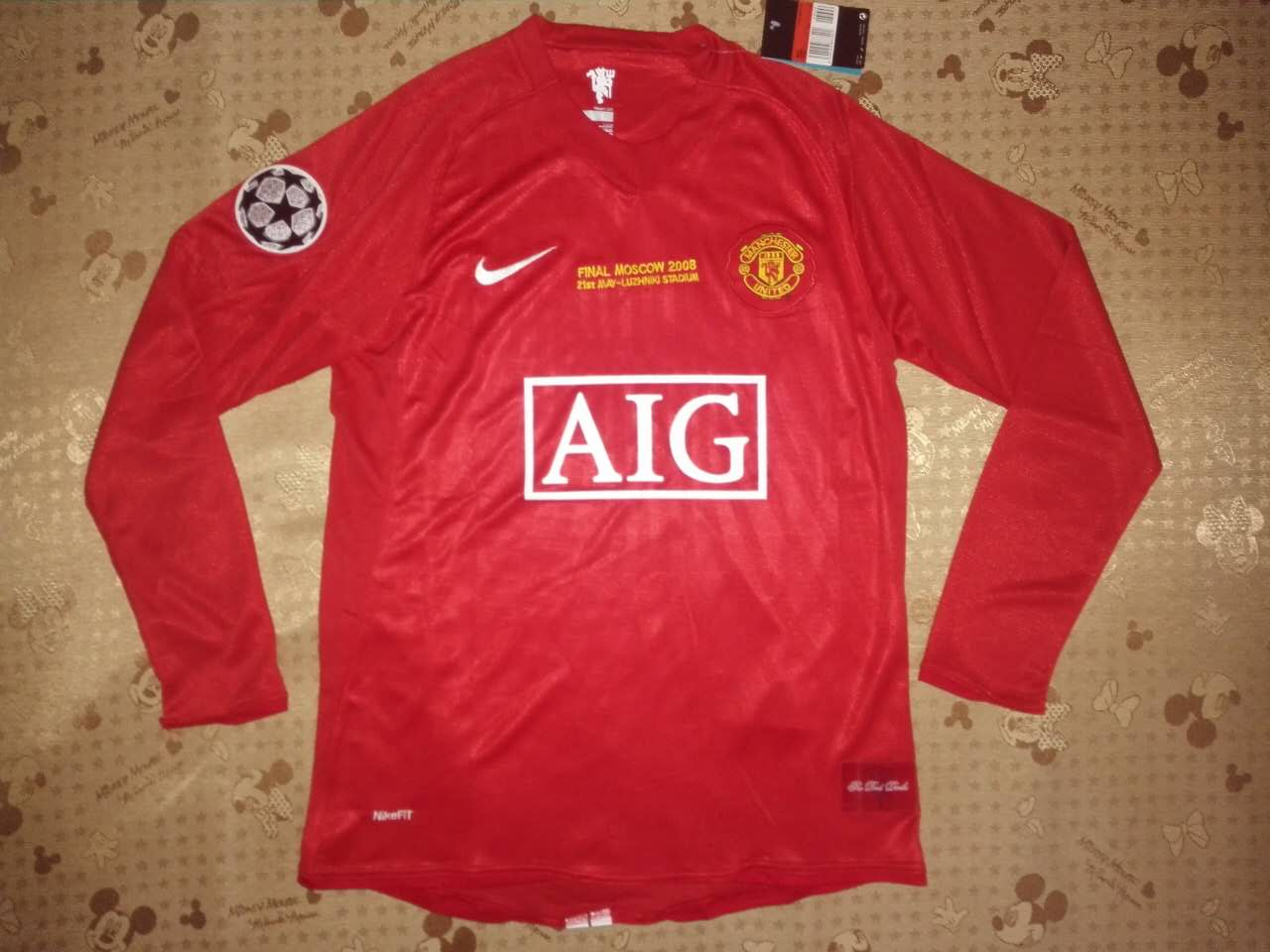 1c106cd1b 2007-08 MANCHESTER UNITED CHAMPIONS LEAGUE FINAL HOME SHIRT FULL SLEEVES ...