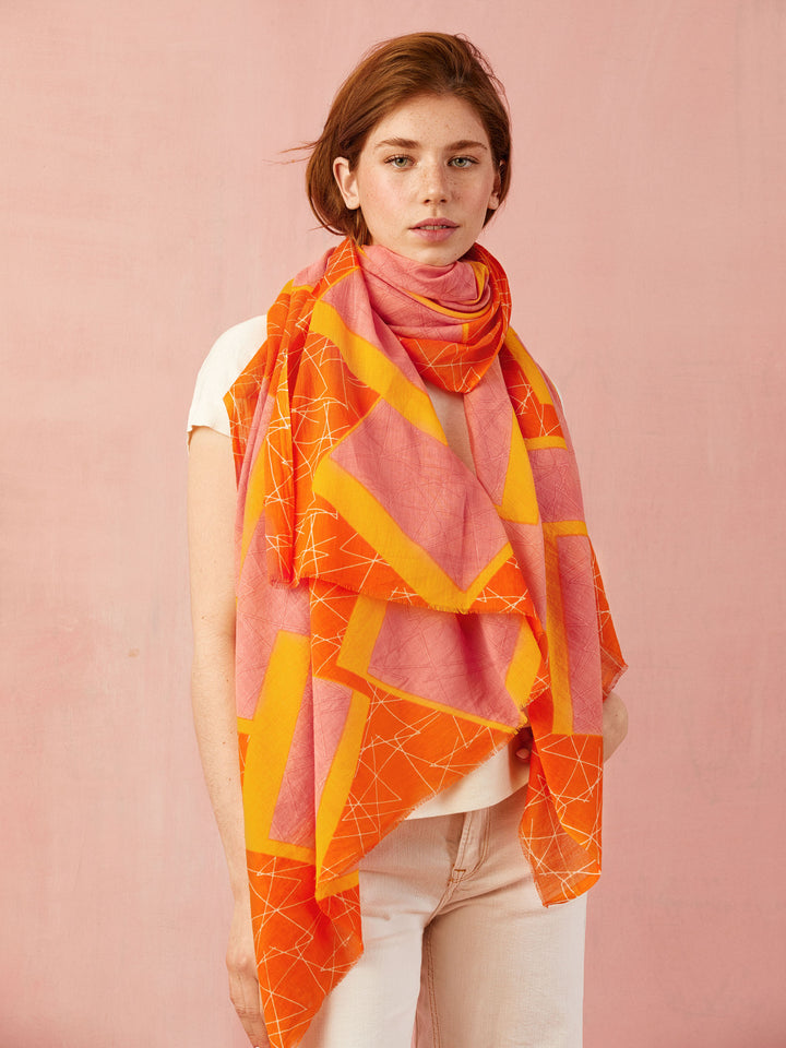 A Sorbet mangue et fraise - Foulard orange et rose
