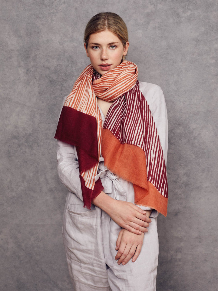 Foulard Alberta - Orange et Bordeaux