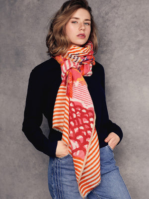 Orange and pink merino wool scarf écharpe foulard orange et rose fait de pure laine de mérinos