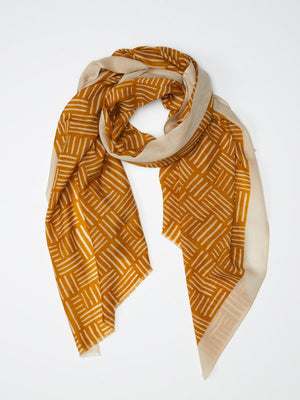 Scarf of 100% fine wool, yellow and beige