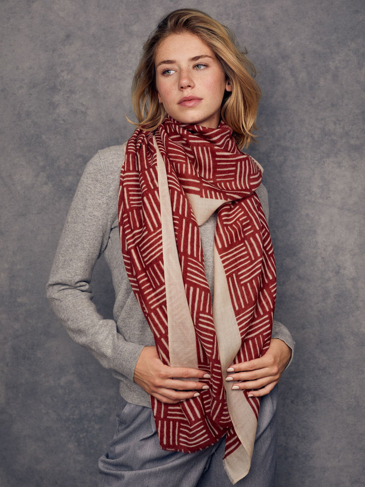 100% merino wool scarf, red brick and beige, ultra soft