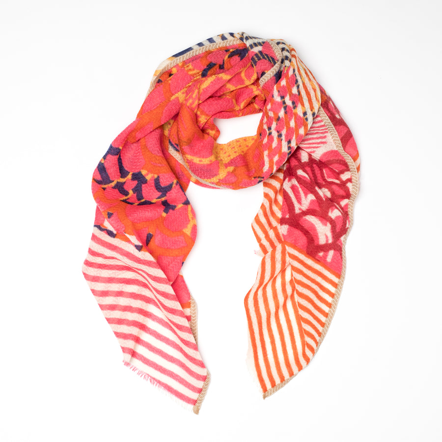 Foulard Céleste - Orange et Rose
