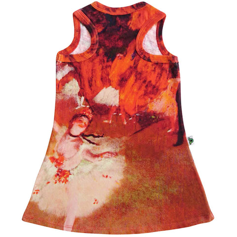 Tank dress with image of Degas' painting, L'Etoile, featuring a ballerina on stage