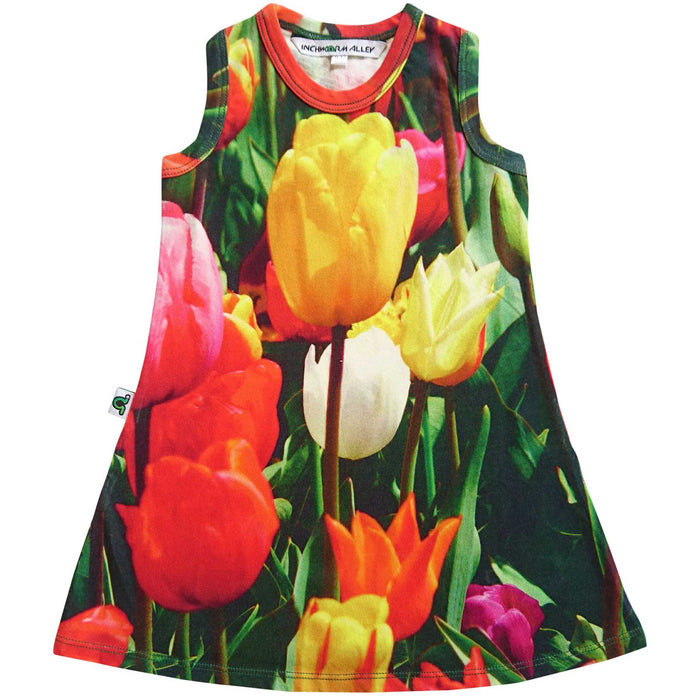 Tank dress with image of blooming, colourful tulips in red, yellow, pink and white
