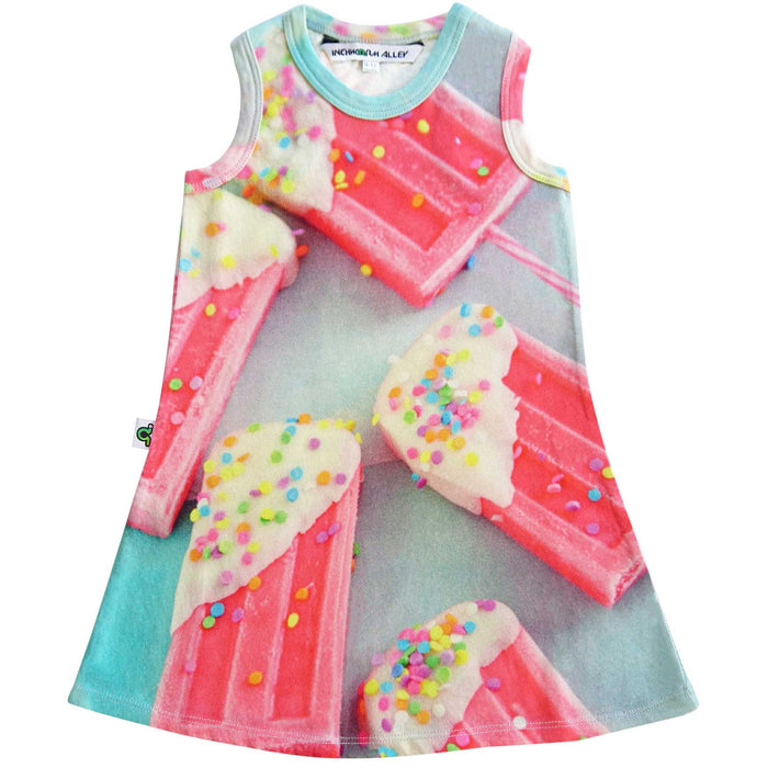 Tank dress with image of pink popsicles topped with multi-colored confetti sprinkles