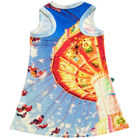 Tank dress with image of amusement park swings twirling people around and around