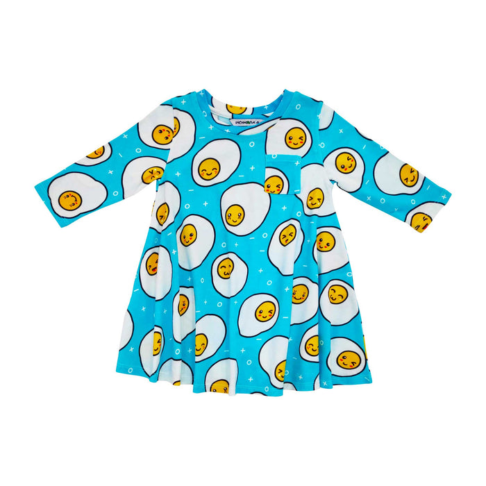 Long sleeve swing dress with an all-over print of cartoon and kawaii sunny side up fried eggs