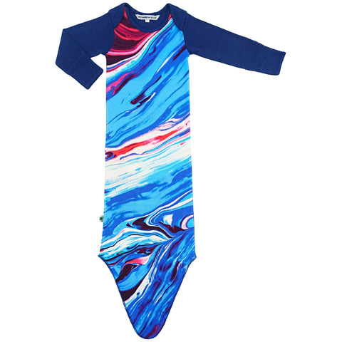 Knotted sleep sack with print of red, white, blue marbled painting