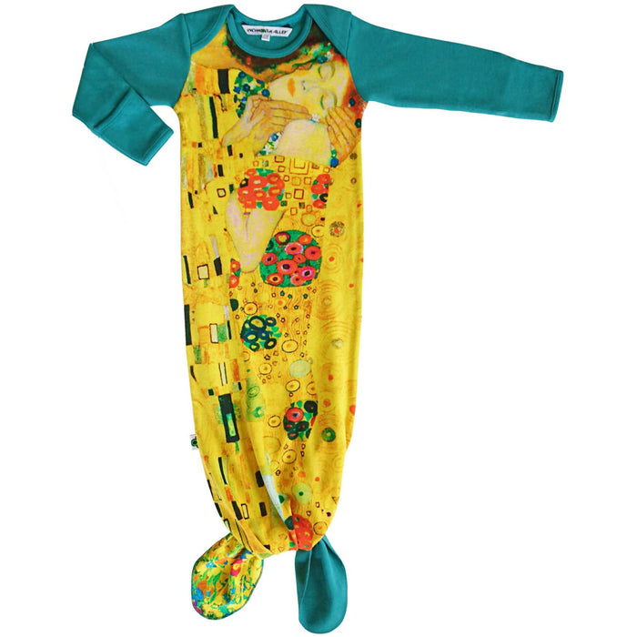 Knotted sleep sack with image of Gustav Klimt's painting, The Kiss