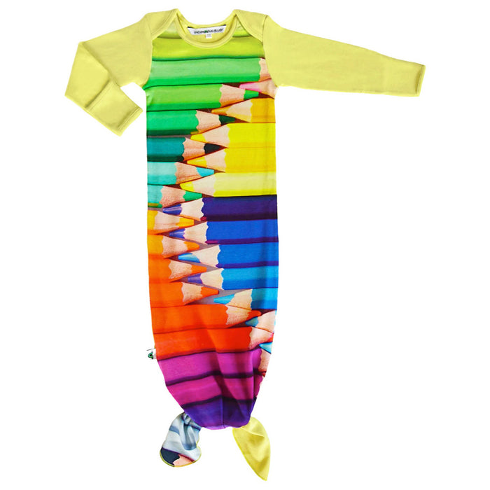 Knotted sleep sack with image of large-scale, multi-colored pencil crayons stacked in a row