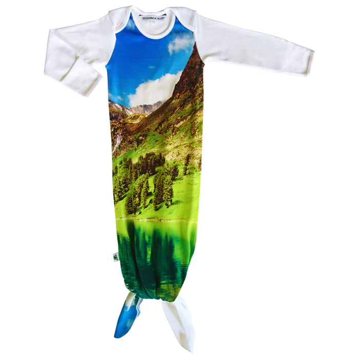 Knotted sleep sack with image of a vibrant mountain valley with a blue sky and reflective lake