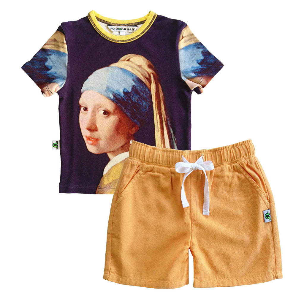 T-shirt printed with an image of Johannes Vermeer's Girl with a Pearl Earring, an oil painting from the Dutch Godenmeer's Girl with a Pearl Earring, an oil painting from the Dutch Golden Age, dated 1665, with matching shorts