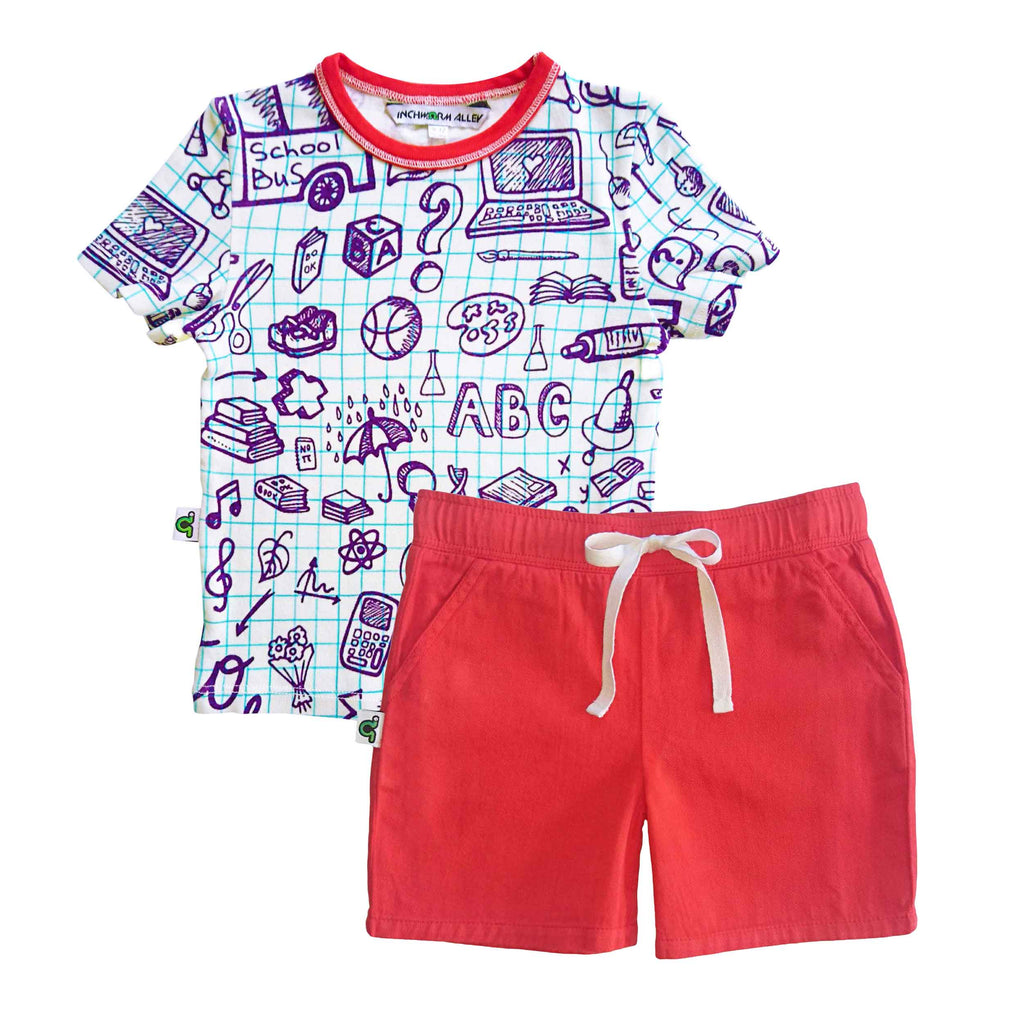T-shirt printed with an image of school graph paper covered in hand-drawn doodles with matching red shorts