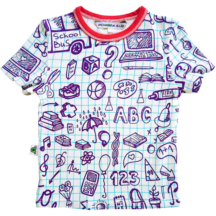T-shirt printed with an image of school graph paper covered in hand-drawn doodles