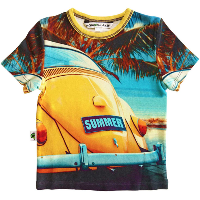 T-shirt printed with an image of a bright yellow VW Beetle or Bug, parked beach side, with a license plate that reads SUMMER