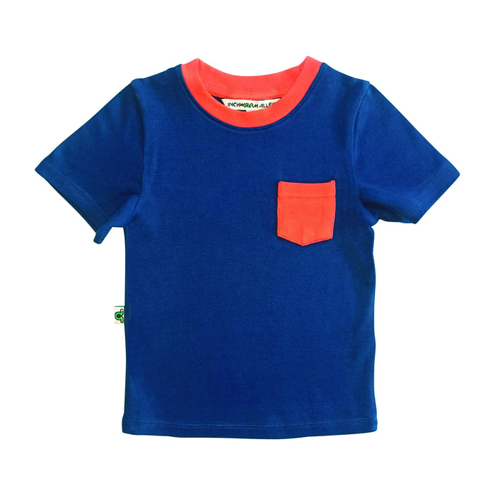 Navy t-shirt with red contrast chest pocket and red neckline trim