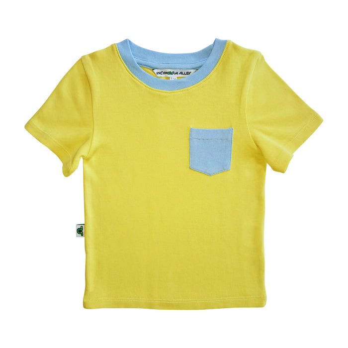 Yellow t-shirt with baby blue contrast chest pocket and baby blue neckline trim