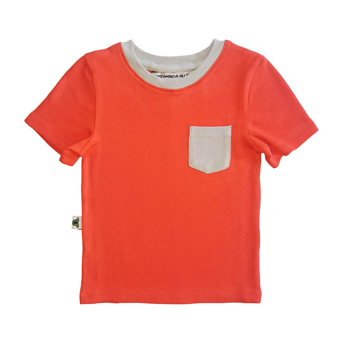 Red t-shirt with light gray contrast chest pocket and light gray neckline trim