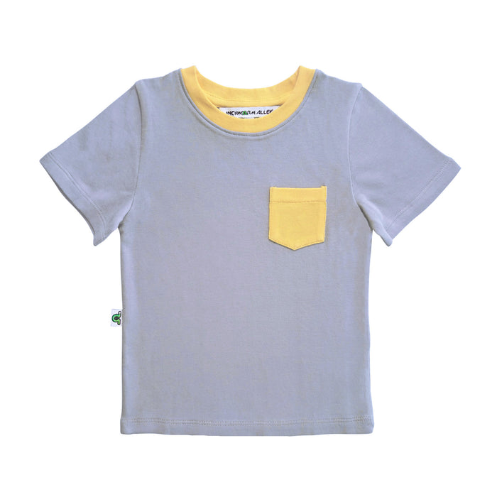 Gray t-shirt with yellow contrast chest pocket and yellow neckline trim