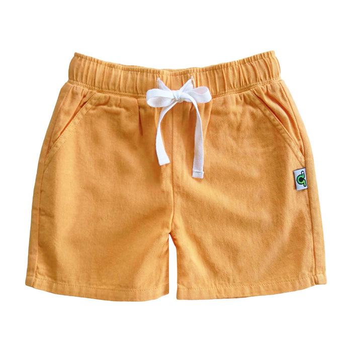 Casual yellow shorts with waist tie and pockets