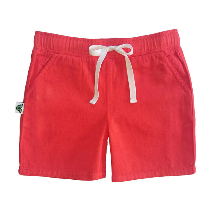 Casual red shorts with waist tie and pockets