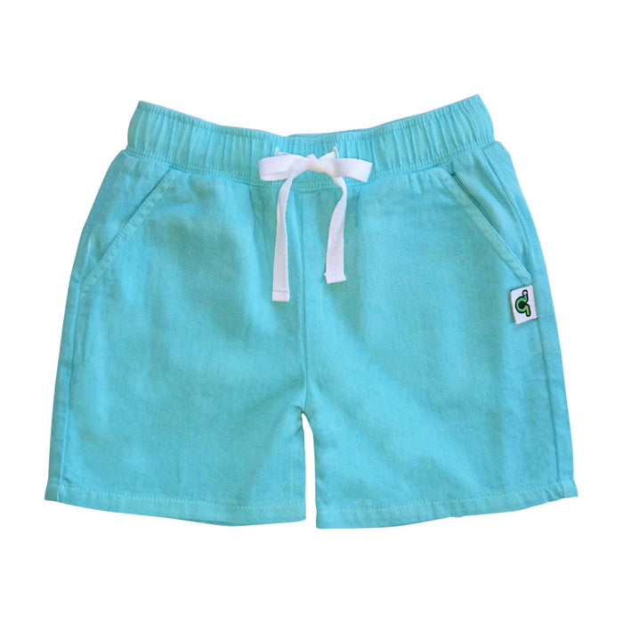 Casual blue shorts with waist tie and pockets