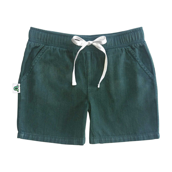 Casual green shorts with waist tie and pockets