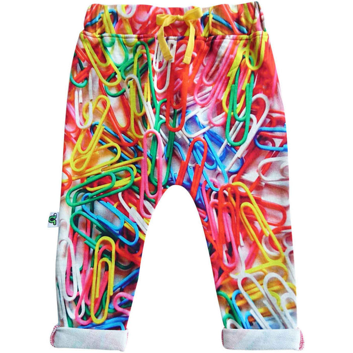 Sweatpants with print of large-scale multicolor paperclips strewn around