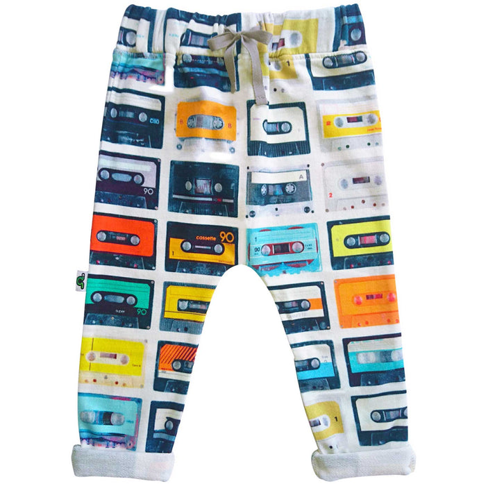 Sweatpants with print of columns of multicolor cassette tapes