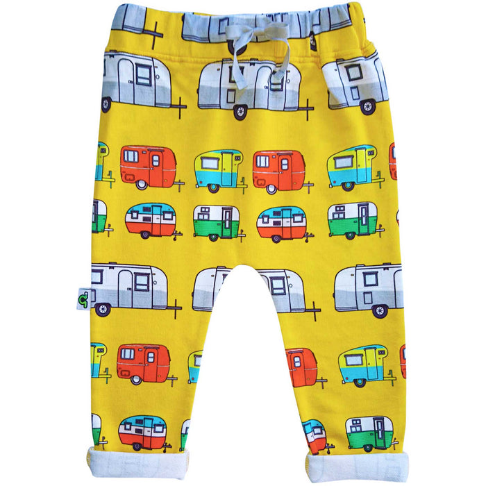 Sweatpants with print of colorful, hand drawn vintage campers