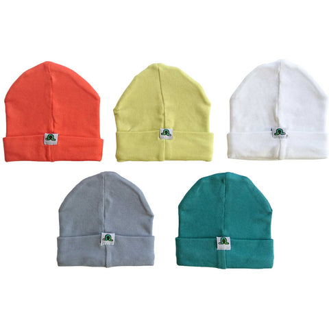 Beanie hats in multiple colors - red, yellow, white, gray and green