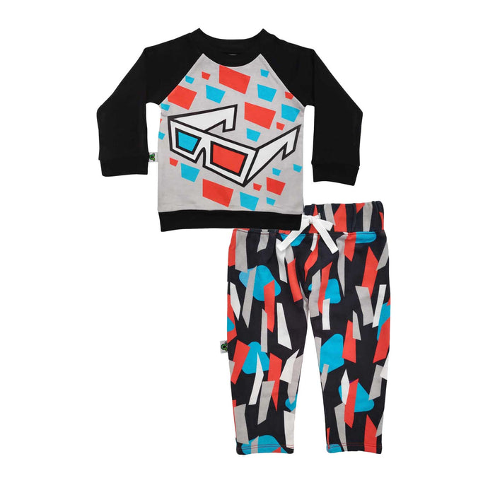 Raglan sweatshirt and French Terry joggers set with a 3D glasses print and abstract bottoms