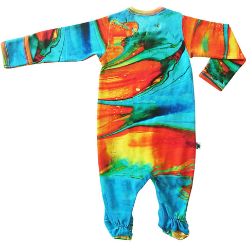Full sleeve footie onesie with a print of turquoise, red, orange and yellow paintbrush strokes